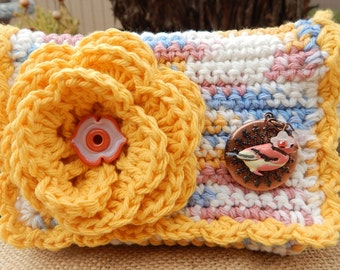 Crocheted Purse  ~  Country Yellow and Variegated with Bird Locket Crocheted Cotton Little Bit Purse