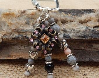Key Ring  ~  Vintage Jewelry Piece and Pink Zebra Jasper Beaded Key Chain  ~  Beaded Key Ring