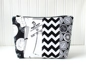 Black and White Makeup Bag Zipper Pouch Black and White Toiletry Bag Project Bag