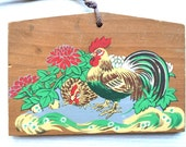 Japanese Shrine Wood Plaque Chrysanthemum and Rooster at Asama Shrine E8-31