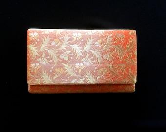 Vintage Japanese Kimono Clutch - Japanese Clutch - Bridal Clutch - Vintage Bag - Bridal Bag - Gold Orange Silver Clutch