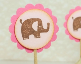 Elephant Cupcake Toppers Baby Shower Decorations Cupcake Food Picks Cake Top Pink