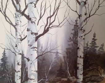 SALE Lithograph Print on Rag Paper featuring Birch Trees by John A White
