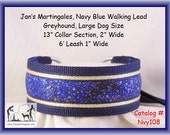 Jan's Martingales, Navy Blue Walking Lead, Collar and Lead Combination, Greyhound, Large Dog Size, Nvy108