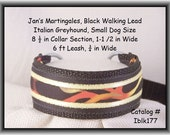 "Jan's Martingales, Black Collar Leash Combination Walking Lead,  Italian Greyhound, Toy Dog Size 8-1/2 "" Collar Section Iblk175"