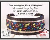 Jan's Martingales, Black Walking Lead, Dog Collar and Lead Combination, Greyhound, Large Dog Size, Blk233