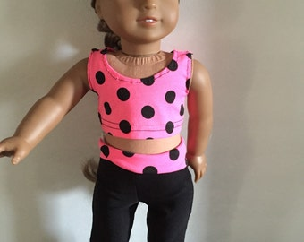 18 Inch Doll Clothes Pink Polka Dot Yoga Outfit