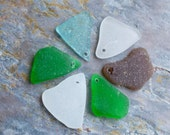 Top drilled Seaglass, Rare Aqua. Also included are Green, Brown and White. Lot N10