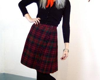 SALE 50% OFF Vintage 70s Plaid Wool Kilt Skirt High Waist Flared Blue Red Green Pleated Tartan Above the Knee Frayed Edge 1970s School Girl