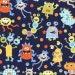 Nap Mat - Monogrammed Monster Mash Nap Mat with an Orange or Turquoise Minky Dot Blanket