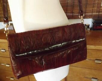Vintage Boho Burgundy Convertible Cross Body Clutch