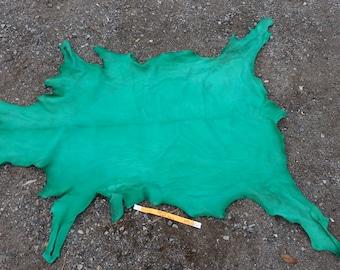 Spearmint Buckskin Leather Hide- Heavy Weight Goat - Lot No. 52516HO