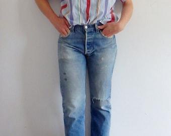 Blouse Vintage Striped Short Sleeve