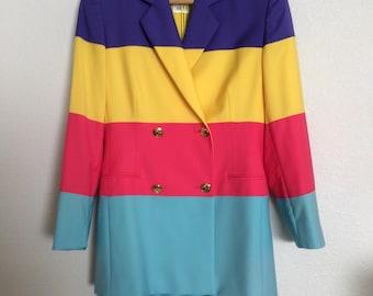 Vibrant Striped Color Block Vintage 1990s Escada Ladies Suit (Jacket/Skirt)