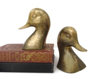 Vintage Brass Duck Head Bookends, Mid Century Modern Brass Library Decor