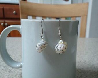 Glittery Shell Dangle Earrings