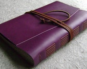 "Large Leather Journal or sketchbook, or wedding guest book, 6""x 9"",violet/purple, handmade leather journal by Dancing Grey Studio(1662)"