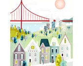 San Francisco Print, Golden Gate Wall Art, Skyline Cityscape Illustration, Poster, Home decor, Childs, Kids room, Nursery decor, vintage