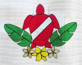 Stained Glass Suncatcher, Diver Down, Sea Turtle, Palm Leaves, Yellow Lily, Plumeria Flower, Tropical Flower, Scuba Diving, Beach House