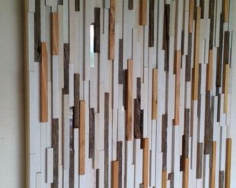 Wood Wall Art, Wall Art, Modern Rustic Wood Sculpture, Abstract Wall Art, Reclaimed Wood Art