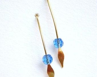 SALE 30% Blue Earrings, Stick earrings, Swarovski, Sapphire Blue Crystal, Gold Paddle, E186