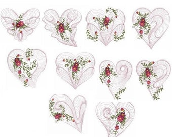 Embroidered  quilt blocks--Rippled hearts