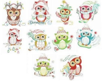 Embroidered  quilt blocks--Winter Owls