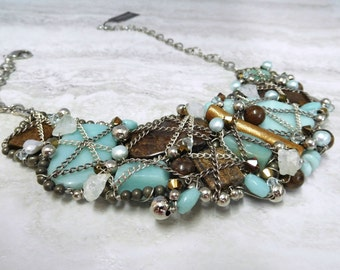 Large Statement Bib Necklace- Wire Wrapped Necklace in Blue & Brown Big Semi Precious Stones by Sharona Nissan 3936n