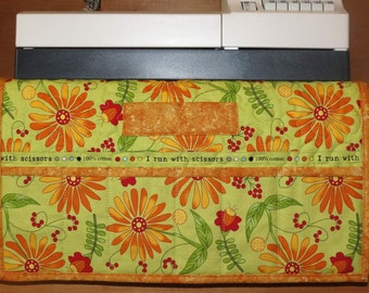Quilted Sewing Machine Pad, Caddy, Organizer, Orange Daisy with Lime Green, Humourous Sewing Quotes