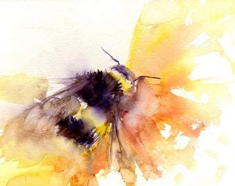 limited edition print of my BUMBLE BEE 1954  archival quality.  hand signed, illustration, animal art