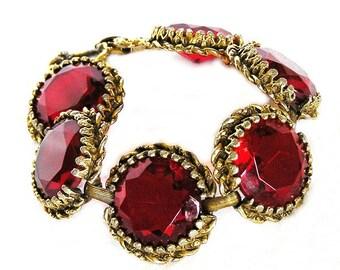 Czech Art Deco Brilliant Red Faceted Glass Bracelet