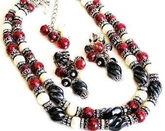 Hobe Red and Black Glass Bead Necklace Earring Set