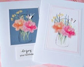 Thank You Card - Wedding Card - Butterfly Card - Birthday Greeting - Notecards - Butterfly notecards - Floral Bouquet Cards - FBC