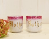 Vintage Mother and Father Cups, Pink White and Gilt China Cups, Mothers Day, Fathers Day Gifts, Flower Vase