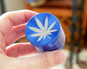 "Marijuana Leaf Personal Pocket Mini Grinder | Laser Engraved Cannabis Leaf on Blue - ""Blue Steel"""