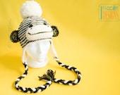 SALE - Striped Camo  Sock  Monkey Hat with Big Pom-Pom READY to SHIP for 6 years to Preteen
