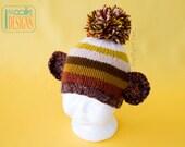 SALE - Brown Striped Monkey Beanie Hat - Ready to Ship
