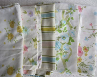 Vintage Collection Yellow Pink Blue Floral Pillow Cases set of 5