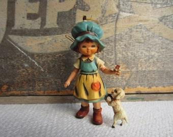 Vintage Christmas Ornament Bonnet Girl with Lamb Flowers Made in Hong Kong