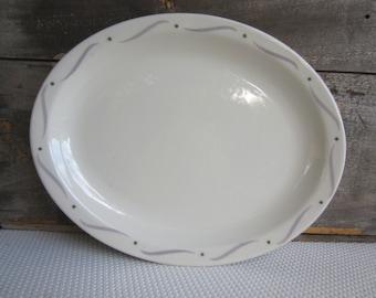 Vintage Grey Swirl Green Dot Oval Restaurant Platter Homer Laughlin