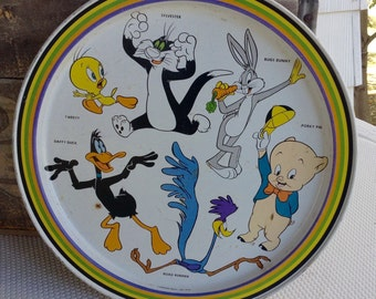 Vintage 1970s Looney Tunes Tray Bugs Bunny Tweety Road Runner Daffy Duck