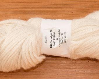 Natural White Worsted Weight Alpaca Yarn