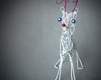 Christmas Reindeer Decoration,  Wire Animal, Holiday Ornament,  Trending Items, Whimsical Table Decor,  Ready to Ship