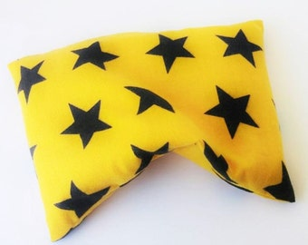 Corn OR Rice Bag Soft Flannel Yellow Black Stars Microwave Heating Pillow 9x6, Gift For Children~Boo Boo Pack, Growing pains, Bumps Bruises