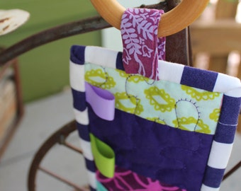 Quilted Teether: Purple, pink, green and Mermaids