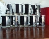Set of Ten Typeset Lowball Glasses