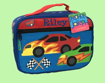 Stephen Joseph Child's RACE CAR Themed Lunch Box Personalized For Free