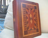 Book box Parquet wood with secret compartment