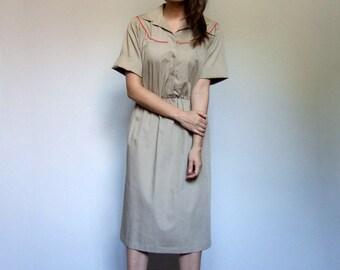 Beige Dress Pockets Vintage Safari Dress Tan Short Sleeve 80s Dress Secretary Dress Collared Knee Length Dress - Extra Large XL