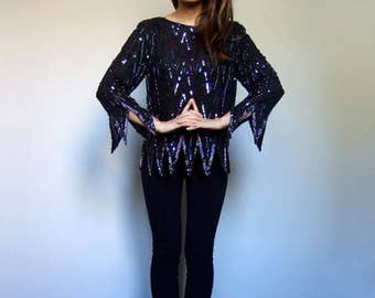 Sequin Top Black Beaded Top Witch Clothing Vintage 80s Top Peaked Hem Witchy Top Beaded Blouse Sequin Blouse - Medium to Large M L